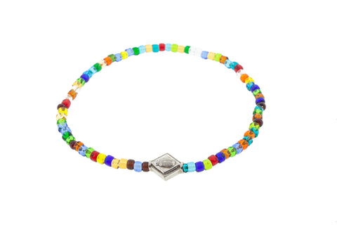 Gold Scarab Lozenge On Glass Beaded Bracelet