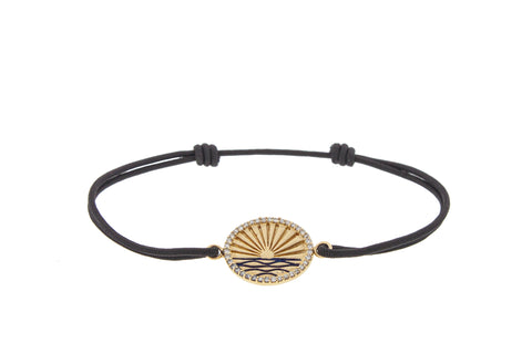 Diamond Enamel Horizon Black Cord Bracelet