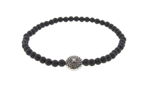 White Gold Mantra On Onyx Beaded Bracelet
