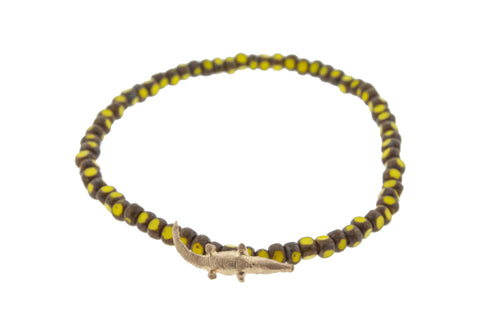 Yellow Gold Crocodile with Yellow Picasso Beads Bracelet