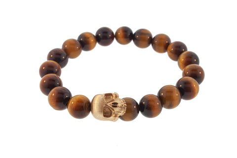 Gold Large Half Skull On Tiger's Eye Beaded Bracelet