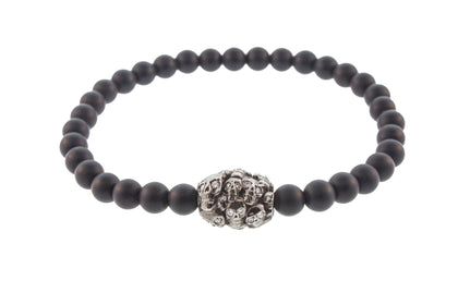 Large Many Skull Drum Bead with White Diamonds in the Eyes Bracelet