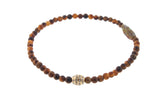 Gold Barrel With Diamonds On Tiger's Eye Beaded Bracelet