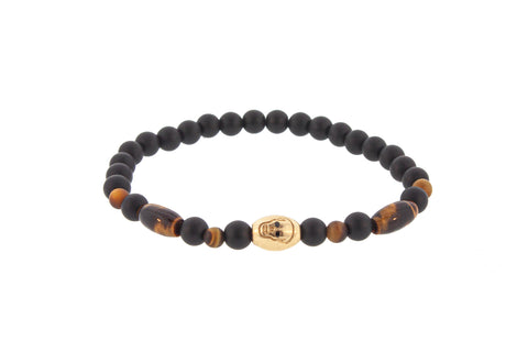 Gold Skull And Black Diamond Eyes On Beaded Bracelet