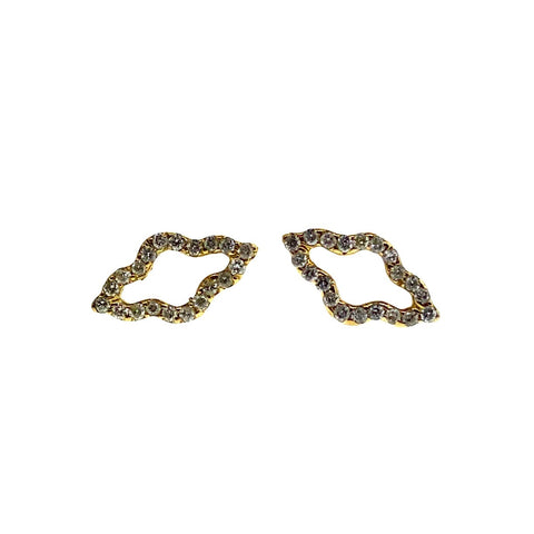 Small Yellow Gold P4 Studs With White Diamonds