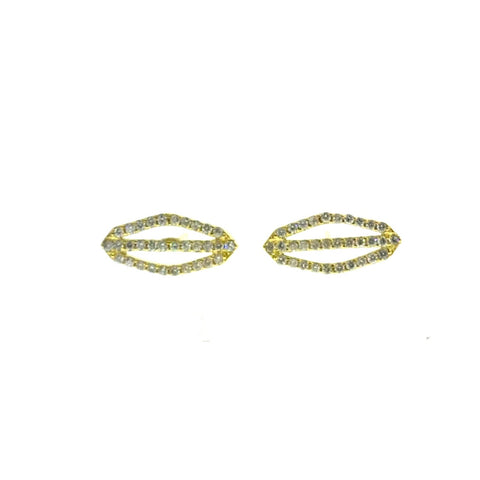 Small Yellow Gold P2 Stud Earrings with Diamonds