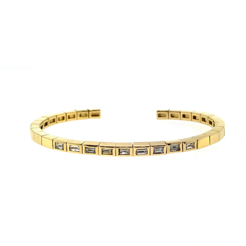 Yellow Gold Baguette Cuff with White Diamonds