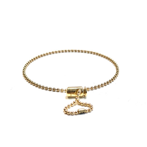 Gold Push Cord On Ball Chain Bracelet