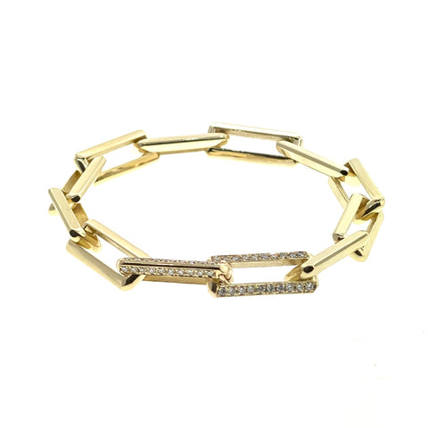 Gold Link Bracelet With Diamond Pave Clasps
