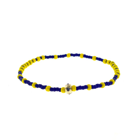 Gold Bezel With Sapphire Cabochon On Glass Beaded Bracelet
