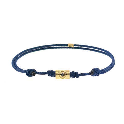 Gold Evil Eye Relief With Black Diamond On Cord Bracelet