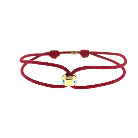 Gold Octagon With Evil Eye On Cord Bracelet