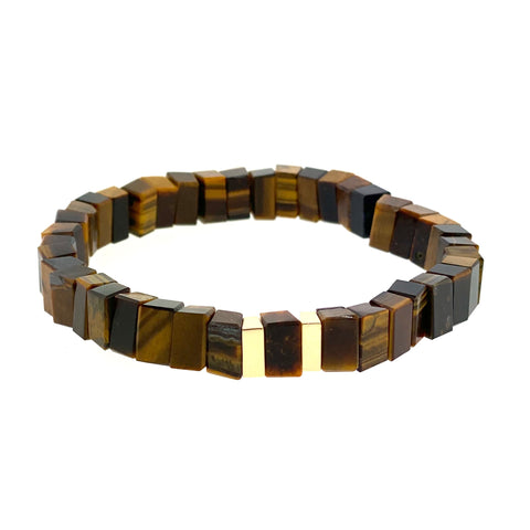 Gold Beads On Tiger's Eye Beaded Bracelet