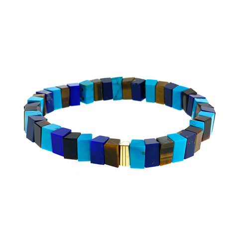 Gold Ribbed Bead On Lapis, Turquoise and Tiger's Eye Beaded Bracelet