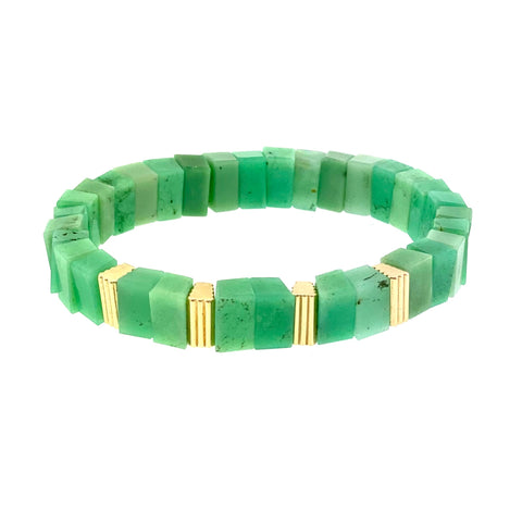 Gold Ribbed Beads On Chrysoprase Beaded Bracelet