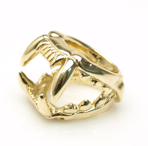 SKULL LYON YELLOW GOLD RING