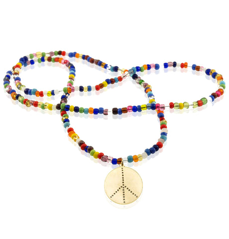 PEACE SIGN ON BEADED NECKLACE