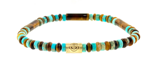 Gold Evil Eye Relief On Gemstone Beaded Bracelet