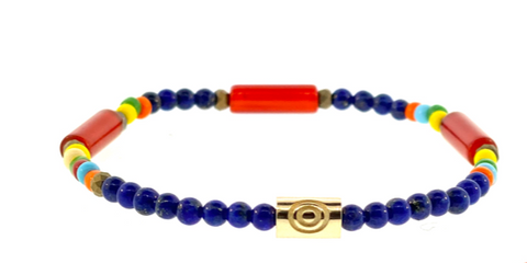 Gold Recessed Evil Eye On Gemstone Beaded Bracelet