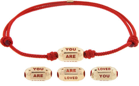 You Are Loved Hexagon Bolt Bead on a Cord Bracelet