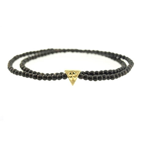 LUCKY CLOVER TRIANGLE ON MINI EBONY BRACELET