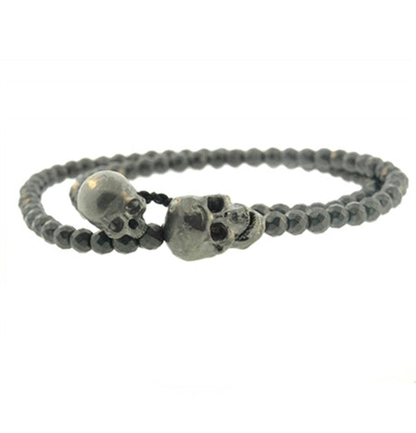 MOVING JAW DOUBLE SKULL WRAP BRACELET