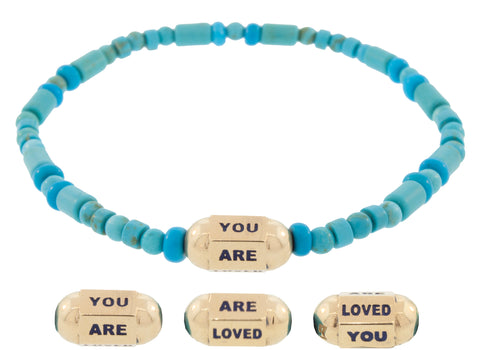 You Are Loved Hexagon Bolt Beaded Bracelet