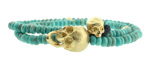 LARGE YELLOW GOLD MOVING JAW WITH SKULL BUTTON BRACELET