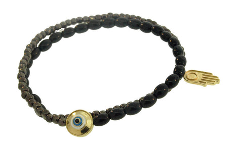DOUBLE WRAP EVIL EYE MANTRA & HAMSA BRACELET