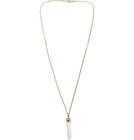 14K GOLD AND CRYSTAL PENDANT NECKLACE