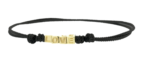 Gold LOVE Cubes On Cord Bracelet