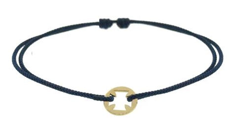 Yellow Gold Maltese Coin Cord Bracelet