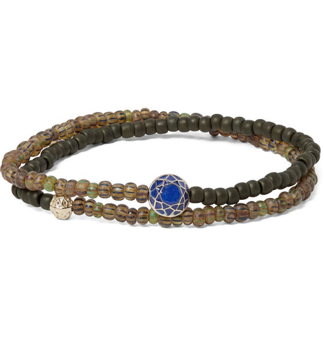 DOUBLE WRAP DOUBLE FACETED MANTRA WITH BLUE ENAMEL