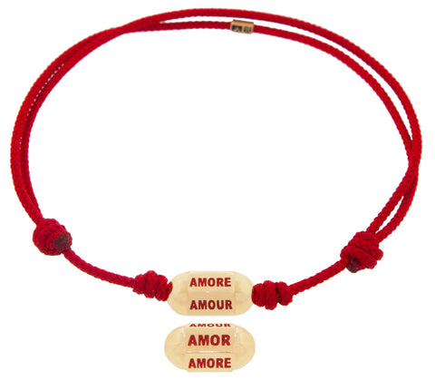 Amor, Amore, Amour Hexagon Bolt Bead on a Cord Bracelet