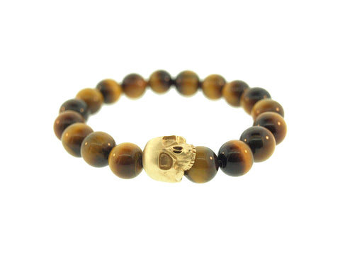 Yellow Gold Half Skull on Tiger Eye Beads Bracelet