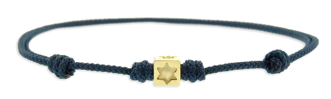 Gold Star Of David Cube On Cord Bracelet