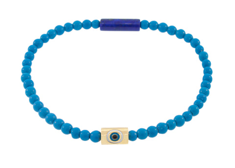 Yellow Gold Enameled Evil Eye Bracelet