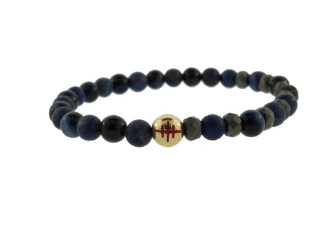 Gold Cross Of Lorraine Ball On Beaded Bracelet.