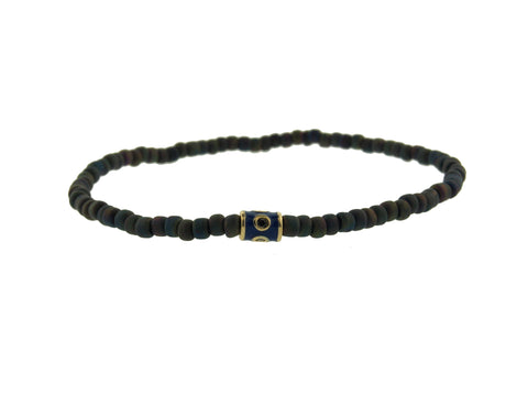 Gold Barrel With Black Diamonds On Beaded Bracelet