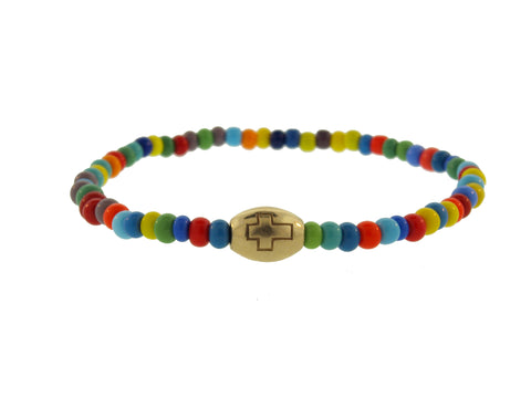 Gold Drum Bead With Cross On Glass Beaded Bracelet