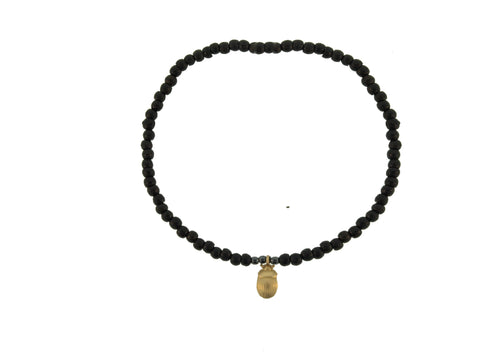 Gold Hanging Scarab On Beaded Bracelet