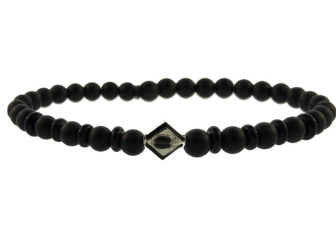 Gold Scarab Lozenge On Onyx Beaded Bracelet