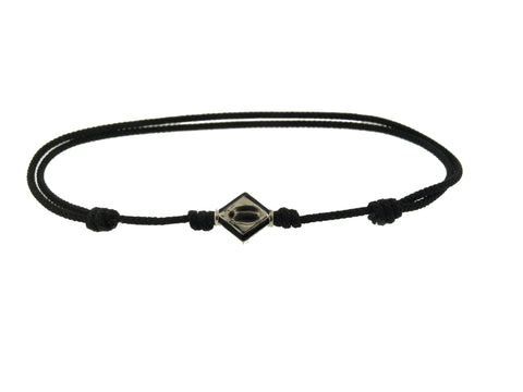 Gold Scarab Lozenge On Cord Bracelet