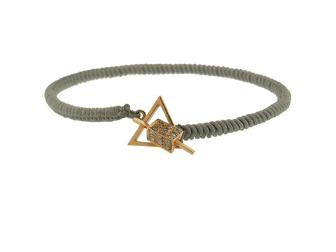 Trikona Toggle With Diamonds On Snake Macrame Bracelet