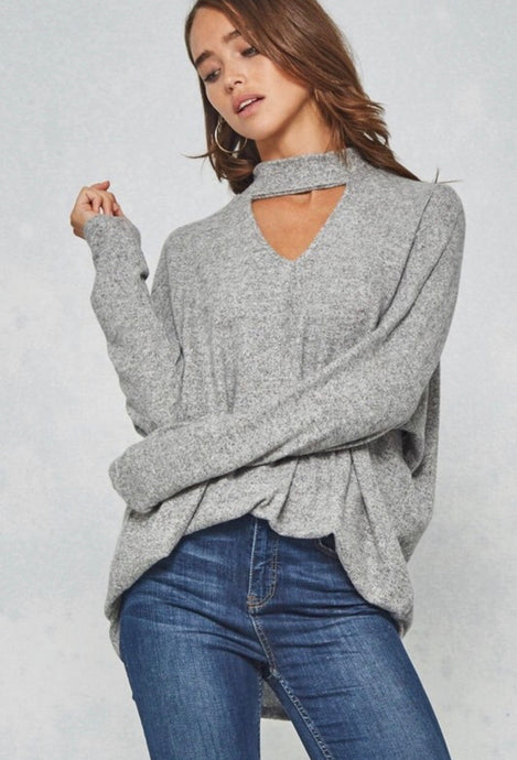 Brunching Babes Choker Top in Gray