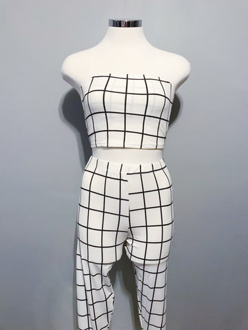 Diana Set (White with Black Stripes)