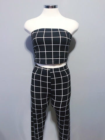 Diana Set (Black with White Stripes)