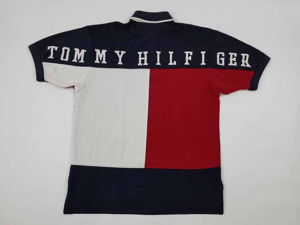 52e43ac907f Tommy Hilfiger Big Flag Polo Men's Small Stitch Spell Out Polo Shirt  Vintage 90s - Ninety