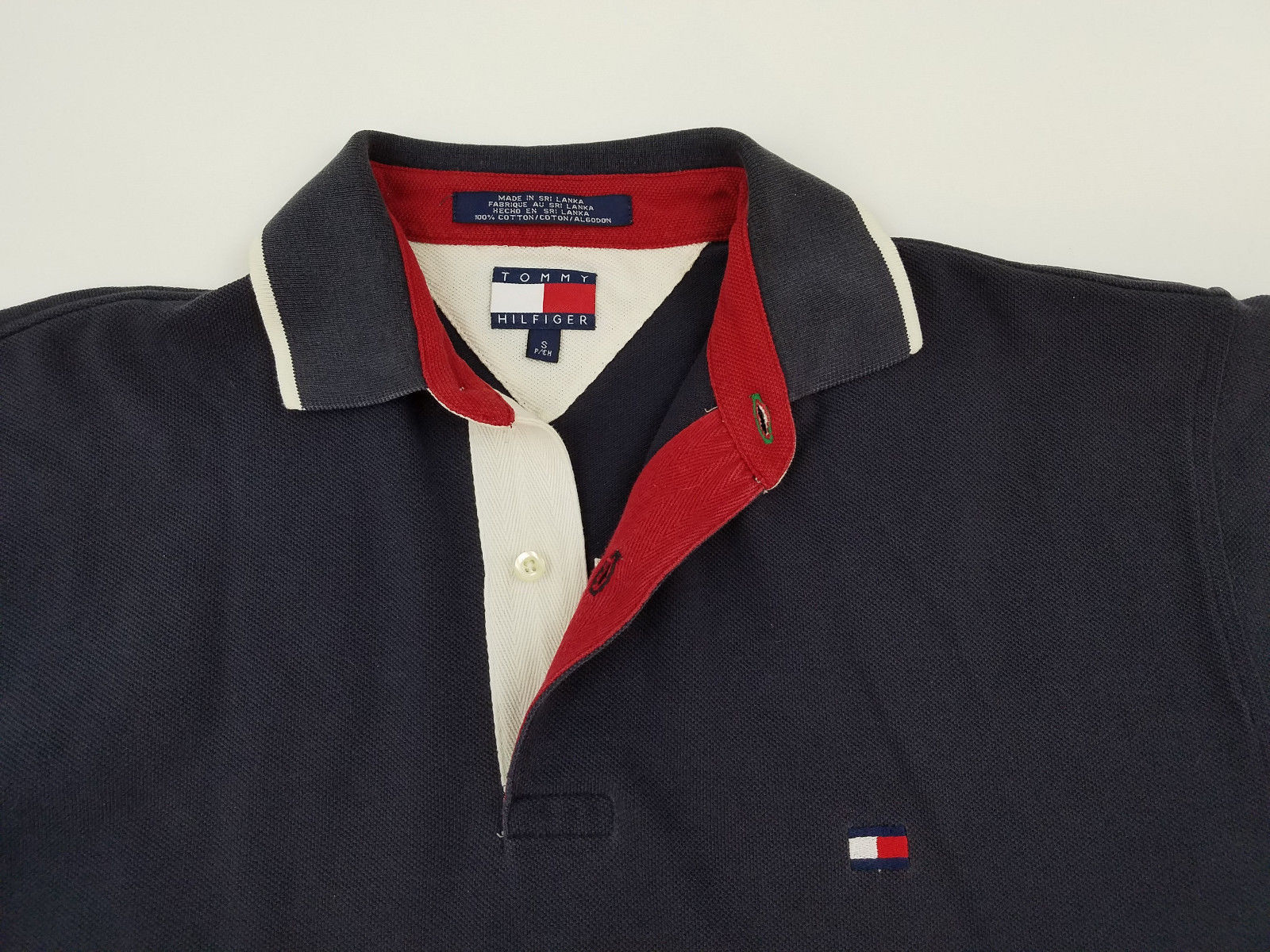 247ee4c6 Tommy Hilfiger Big Flag Polo Men's Small Stitch Spell Out Polo Shirt Vintage  90s - Ninety