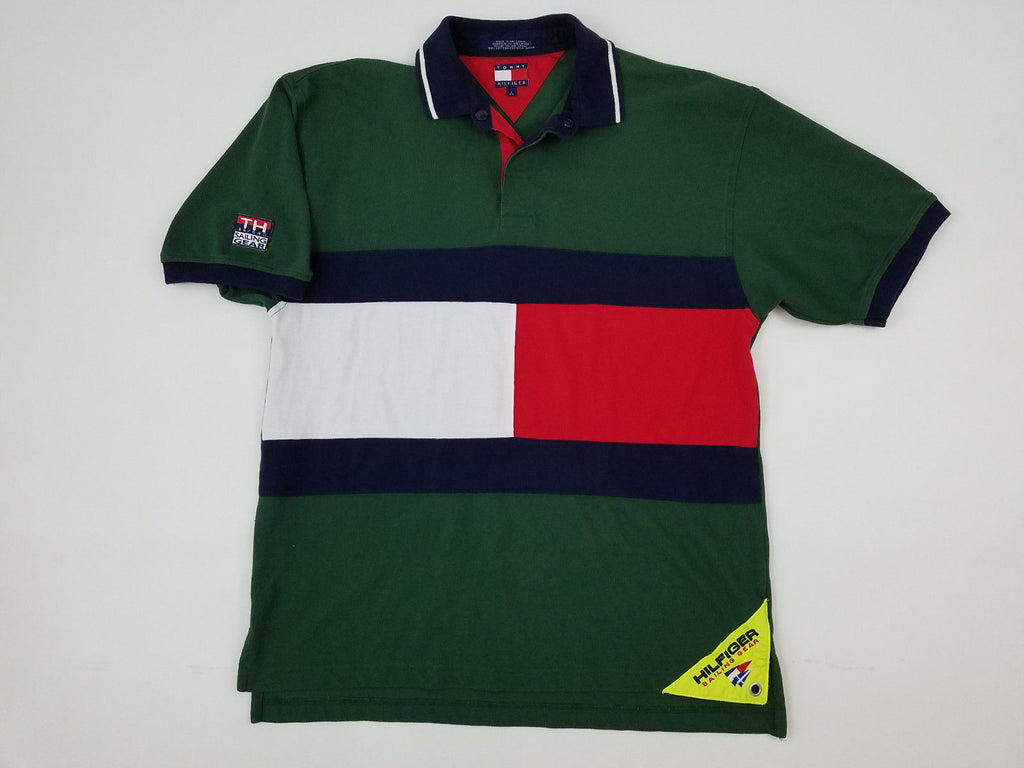 9f4c4d65 Tommy Hilfiger Sailing Gear Big Flag Spellout Polo Rugby Shirt Vintage 90s  - Ninety One Vintage